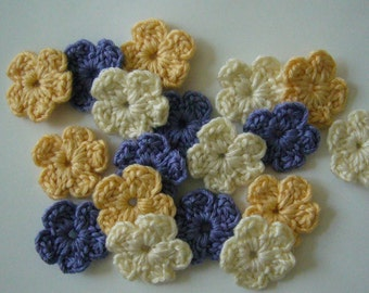 Crocheted Flowers - Lilac, Yellow and Cream - Wool Flowers - Crocheted Embellishment - Crocheted Applique - Set of 6