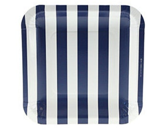 Navy Blue Candy Stripe Square Plates - Set of 12 Sambellina Large Square Navy & White Plates with Round Corners - Great for a boy birthday!