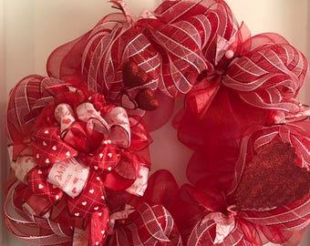 Large Red Deco Mesh Valentine Wreath 22x22x5 in Door/Wall Indoor/Outdoor