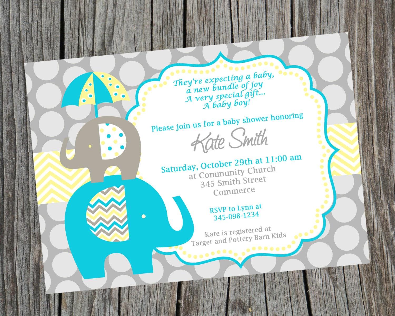 Elephant Invitation Elephant Baby Shower Baby Shower