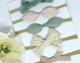 simplity hair bow set, neutral headband, hair clip set