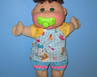 Cabbage Patch, Naptime Babyland, Doll Clothes, Kitty,Top and Short , 12  13  inch Doll Clothes,  Fun to Feed Cabbage Patch Doll