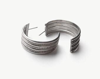 Coiled  • Vintage Navajo Sterling Twisted Hoops / Earrings
