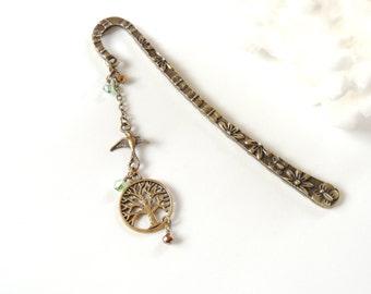 Tree of Life Bookmark, Flower Bookmark, Antiqued Bronze Bookmark, Beaded Bookmark, Books and Zines, Handmade Gift Idea, Swallow Bird.