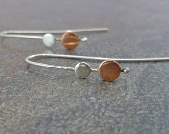 Silver and Copper Drop Disk Hanging Dewdrop Minimalist Earrings