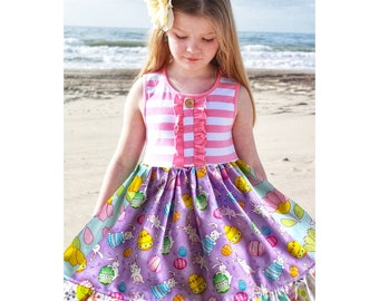 Girls Easter dress Bunny Spring toddler girl baby dress Purple Easter dress outfit Bunny necklace option Momi boutique custom girls dress