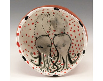 Ma and Pa Scally Wags - Original one of a kind painting by Jenny Mendes in a ceramic pinch finger bowl
