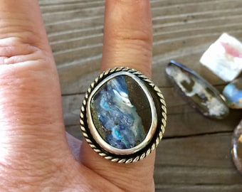 Boulder Opal statement ring size 8