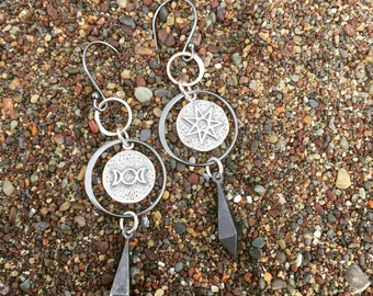 White Magic Talisman Earrings with Oxidized Inverted Spike