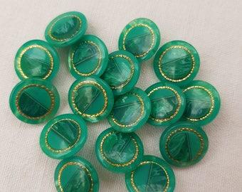 "Brilliant Green and gold vintage buttons, plastic round buttons,shank  buttons, 16 pcs ,vintage supplies 1,5 cm  ( 0,59"")   elegant buttons"