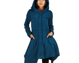 Asymmetric urban blue hood cardigan