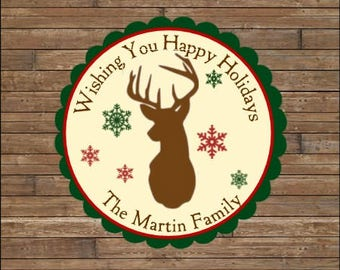 Personalized Christmas Stickers  - Happy Holidays Stickers - Happy Holidays Tags - Christmas Deer Tags