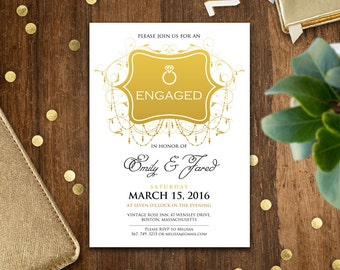 Engagement invitation printable gold, engagement invitation template, Engaged party invitation, engagement party invite, engagement party
