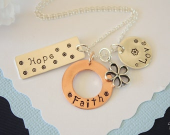 Hope Faith & Love Necklace, Faith Necklace, Love Necklace, Hope, Mix Metal Sterling Silver and Copper, inspirational, Christmas Gift
