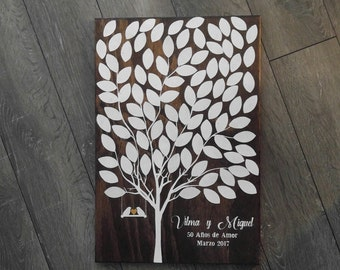 """Rustic Wedding Guestbook Tree Sign Wooden Wall Hanging 21"""" x 15"""" Real Wood / birds / swing / love / signatures guest book"""