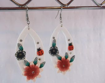 Handmade Light Weight Air Dry Clay Flower and Lady Bug Earrings - Free Shipping