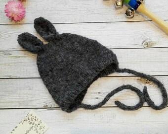 Handmade knit baby bonnet, baby bonnet, girl bonnet, boy bonnet, baby hat, winter hat, newborn hat, newborn bonnet, rabbit hat