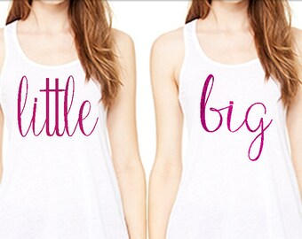 Big lil tank, gbig, ggbig too, bella and canvas tank, sorority big little, glitter and foil lettering