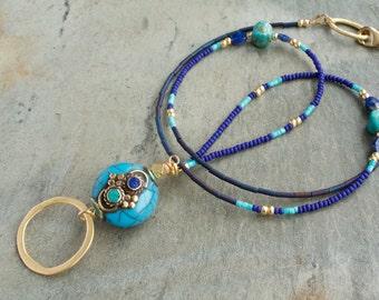 Turquoise Lapis Eyeglass Loop Necklace, Lanyard, Eyeglass Lanyard, Eyeglass Chain, Glasses Chain, Eyeglass Holder Necklace, Eyewear holder