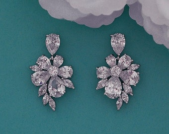 Zircon Bridal Earrings CZ Zirconia Swarovski Crystal Dangle Party Wedding Accessories Weddings Bride Jewelry Prom Brides Gift Accessory 027