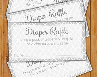 Diaper Raffle Card for Baby Shower Grey Chevron Invitation Inserts Printable PDF--Instant Download