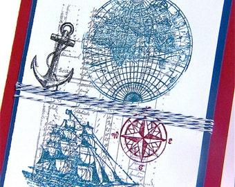 Nautical Card Handmade, Versatile-Get Well, Happy Birthday, Thank you, Card for Him, Handmade Card for Man, Dad, Husband, Son, Sailor,  Navy