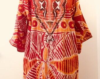 Vintage African Batik Embroidered Kaftan Caftan Djellaba Mumu