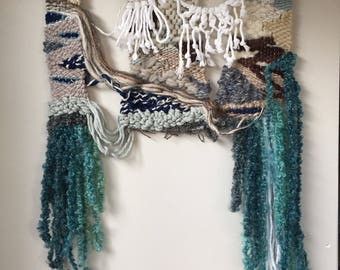 Fringed handwoven wallhanging tapestry - Julesmitchellstudio - Fundy 1 - medium