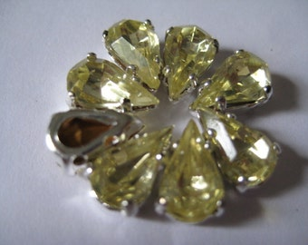 Lot of 8 10x6mm Jonquil Pear Shape W. German Rhinestone in Silver Plated Sew on Setting