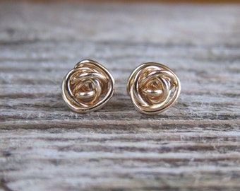 Gold Knot stud earrings. 14k Gold filled or solid gold post earrings. Bridesmaid earrings. Sale!