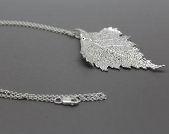 Sterling Silver Birch Leaf Necklace