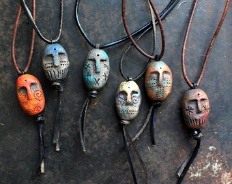Ancient god pendant on leather cord, shaman necklace, primitive amulet, pagan god necklace, adjustable ceramic necklace, bohemian necklace