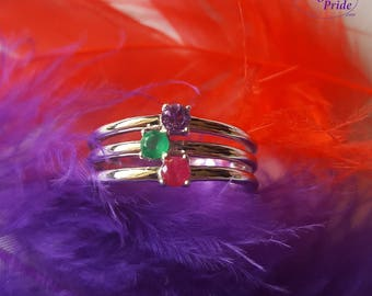 SALE ON NOW Birthstone Ring, You Choose the birthstones, Sterling Silver 925 www.daughterspride.com