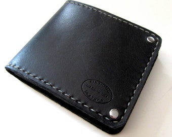 Mens Leather Wallet Classic Black Bifold Lined Wallet Guys Wallet Gift For Husband Can Be Personalized Monogrammed Initials Menswear