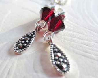 Ear Threads-Marcasite-Sterling Silver-Choose a Color
