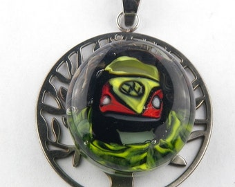 Bus Murrine Lampwork Glass Bead Pendant by Chase Designs