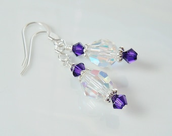 Swarovski Crystal AB & Purple Velvet Beaded Earrings