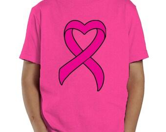 Pink Ribbon Breast Cancer Survivor Awareness October Month Toddler T-Shirt KID-0033
