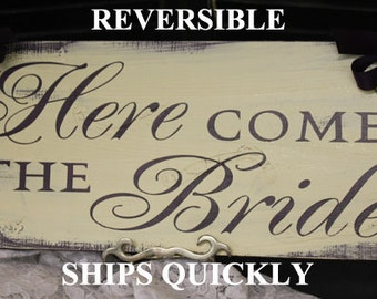 Here Comes the BRIDE Sign/Photo Prop/U Choose Colors/Great Shower Gift/Black/Ivory/Light Weight/Vintage Crackle/Wood Sign/Fast Shipping