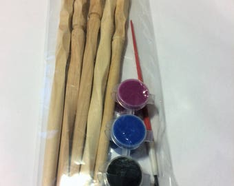 5 pack of unfinished wands with paint, Hand Carved Harry Potter Inspired Craft Project, Craft Pack
