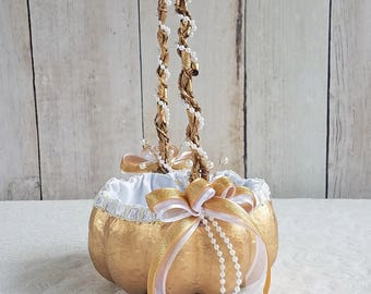 Small Gold Pumpkin Basket for your Cinderella Fall Wedding