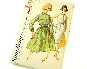 Vintage 1960s Womens Size 12 One Piece Day Dress with Two Skirts Simplicity Sewing Pattern 3386 Complete / bust 32 waist 25