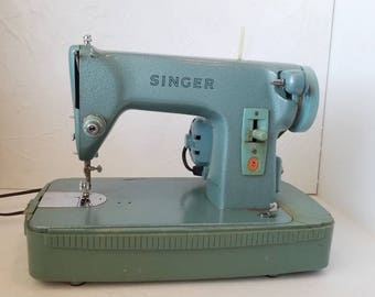 Vintage Turquoise Singer Sewing Machine with Case and Blue 1950s Mid Century