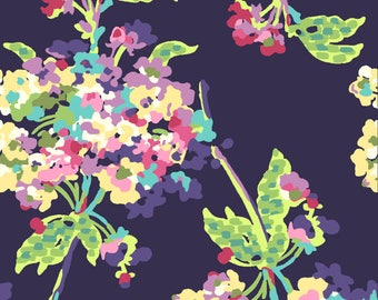 Amy Butler Fabric, Water Bouquet Midnight,AB51, Love Collection, Purple Fabric, Floral Fabric, Cotton, Shabby Chic, Fabric By the Yarduqu