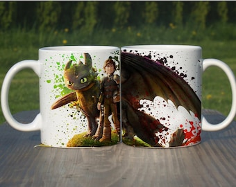 Hiccup and Toothless How To Train Your Dragon Inspired Coffee Mug Tea Cup Color Changing Heat Magic Mug Unique Design Gift Ceramic 11oz,M262