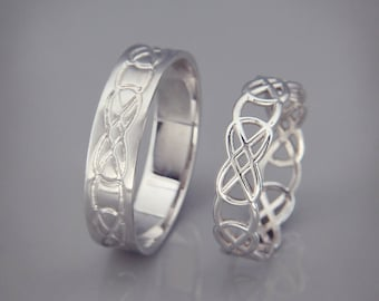 14K White Gold Celtic Knot Wedding Rings Set | Handmade 14k white gold Celtic wedding Rings | His and Hers Wedding Bands Set