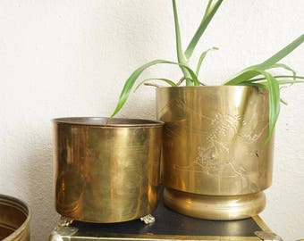 Vintage Lacquered Brass Footed Planter Pot