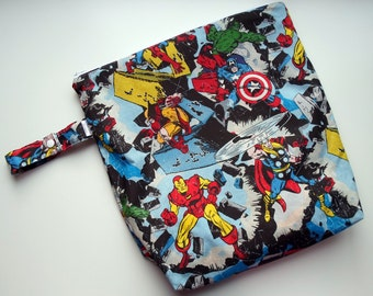 Wet /Dry Bag with Snap Handle - Waterproof Zipper Bag in Marvel Comic, Superhero