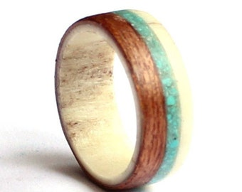 Deer Antler Ring, Mahogany Ring With Turquoise Inlay, Men Antler Wedding Band