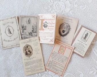 1900-1930s Set of 7 Antique Prayer Cards Holy Cards
